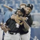 Jackson has some fun with teammate Warren Newton before Game 5 of the 1993 ALCS. The Blue Jays won the series in six games, with Jackson going 0-for-10 over three games.