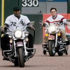 Jackson and Carlton Fisk rides around U.S. Cellular Field in style before a 2008 game against the Indians.