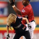 Jackson tags model Marisa Miller during the 2010 All-Star-Legends and Celebrity Softball Game at Angel Stadium.