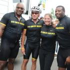 Jackson, Lance Armstrong, Picabo Street and Ken Griffey Jr. pose after participating in the Bo Bikes Bama charity bike ride. The event raised money for the victims of deadly Alabama tornadoes in 2011.