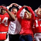 Mandatory folk dancing classes are led by Ohio State's head coach and his spouse after every home game, and, as evidenced by the expression on the face of Mr. Hyde (34), they meet with great enthusiasm.