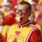 "An apple-cheeked member of Iowa State's bugle core is clearly be-cider himself as the fruits of his team's labors are spoiled by Oklahoma, 35-20, at Jack Trice Stadium in Ames (Iowa's historic birthplace of the expression ""we Ames to please but sometimes come up short"")."