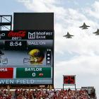 "NORMAN, Okla. (AP) -- Bob Stoops passed Bud Wilkinson on Oklahoma's career victory list with a defensive game plan that went against his conventional wisdom."" ( From the looks of it, that meant calling in F-16s from the 93rd Fighter Squadron -- EDITOR. ) ""I love it,"" Stoops said after his 14th-ranked Sooners beat Baylor, 42-34. ""I absolutely love it."""