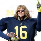 She was totally behind quarterback Denard Robinson, or most of him, anyway, during Michigan's 42-17 home win over Iowa.