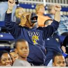 Screaming himself horse as his team goes down to defeat in overtime.