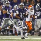 Kansas State stayed perfect at Oklahoma State, but it wasn't without a setback. Collin Klein left the game with an undisclosed injury after throwing for 245 yards, rushing for 64 yards and scoring one touchdown. Running back John Hubert added two scores on the ground, while K-State's defense and special teams both made major impacts. Tyler Lockett made an 100-yard kick return and Allen Chapman came through with a 29-yard pick-six.