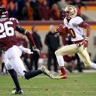 With its dreams of a BCS bowl hanging in the balance, Florida State rallied in the fourth quarter to narrowly top Virginia Tech. Sophomore receiver Rashad Greene (pictured) caught an EJ Manuel pass and sprinted 39 yards to the end zone for the game-winning score with 40 seconds remaining. Manuel finished with 326 passing yards and three touchdowns, while Greene hauled in six catches for 125 yards and two scores.