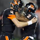 Sean Mannion (No. 4) threw for 325 yards and four touchdowns, including one to Markus Wheaton (No. 2), as the Beavers rolled in what could be Jeff Tedford's final game as the Golden Bears' coach. Wheaton finished with 99 receiving yards for the Beavers (8-2 overall, 6-2 Pac-12), who improved to 5-0 at Reser Stadium and will face the Ducks in the Civil War next weekend.