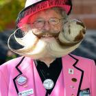 Former world champ Gerhard Knapp at National Beard and Moustache Championships in Las Vegas. Looks like they served gravy on his vittles.