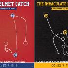 "Never before have these unforgettable NFL moments been re-created in such a stylized way. From ""The Helmet Catch"" to ""The Immaculate Reception,"" the guys at Prinstant Replays have it covered. Coming soon is a line of memorable NBA plays. We can't wait to see them. $20-$30 at   prinstantreplays.com"