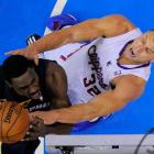 Clippers forward Blake Griffin blocks Grizzlies guard Tony Allen from getting to the bucket.