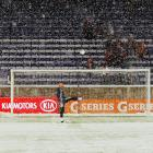 The Red Bulls' Bill Gaudette warms-up as the snow falls prior to the start of the game against the D.C. United at Red Bull Arena on Nov. 7, in Harrison, N.J. The game would be postponed due to severe weather and played the next day.