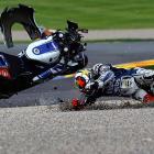 MotoGP world champion Jorge Lorenzo crashes at the Motorcycle Grand Prix  in Cheste near Valencia, Spain, on Nov. 11.