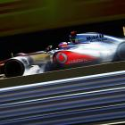British driver Jenson Button competes in the Brazilian Formula One Grand Prix in Sao Paulo.