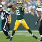 Trying to dodge a 1-3 start to the season after a questionable call by replacement referees gave away the previous week's game, the Packers won the quarterback duel between Aaron Rodgers and Drew Brees, which definitely lived up to the billing. Rodgers finished with 319 yards, four touchdowns and a pick to Brees' 446 yards and three touchdowns. In the loss, Brees tied Johnny Unitas' all-time record of at least one touchdown pass in 47 consecutive regular-season games.