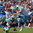 Forty-six fourth quarter points and several head-scratching calls by the replacement officials working their final week deadlocked this game at 41 apiece at the end of regulation. A Rob Bironas 26-yard chip shot was ultimately the difference as Tennessee quarterback Jake Locker threw for 378 yards and two touchdowns to get the Titans off the snide at home for their first win of the season.