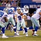 On the NFL's Opening Night, the favored defending champion Giants welcomed their NFC East rival Dallas to the Meadowlands, but were bested by the heroics of Tony Romo and the Cowboy offense. Romo outdueled the two-time Super Bowl MVP Eli Manning, completing 22-of-29 passes for three touchdowns and a quarterback rating of 129.5. Dallas running back DeMarco Murray rushed for 131 yards on 20 carries and wideout Kevin Ogletree came out of nowhere for a breakout performance of 114 yards on eight grabs, two of which went for touchdowns.