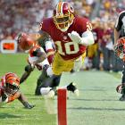 With three consecutive losses, the Redskins have faltered to a 3-6 record, but Robert Griffin III, the No. 2 overall pick from the 2012 draft, has somehow beaten lofty expectations, as one of the NFL's most electrifying players. The dual-threat quarterback has 14 touchdowns (eight passing, six rushing) and better than a 66-percent completion rate at the Week 10 bye. The 2011 Heisman Trophy winner out of Baylor will surely compete for the league's Offensive Rookie of the Year award in trying to get things permanently turned around in Washington.