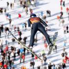 Austria's Gregor Schlierenzauer soars through the air during a trial jump at the Four Hills ski jumping tournament in Garmisch-Partenkirchen, Germany.
