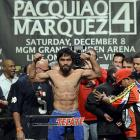 Pacquiao weighed 147 pounds, the welterweight limit, for Saturday's fight.