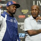 """Rapper-turned-promoter Curtis """"50 Cent"""" Jackson observed Friday's weigh-ins alongside former heavyweight champion Mike Tyson."""