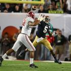 'Bama's defense flustered Notre Dame quarterback Everett Golson, shutting out the Irish in the first half.