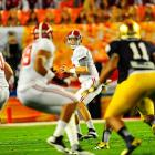 'Bama quarterback AJ McCarron continued to find success in the BCS title game, throwing three touchdowns to help the Tide take a commanding 35-0 lead.