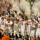 The confetti rained down on the Alabama players, whose 28-point margin of victory was the largest in the BCS title game since USC defeated Oklahoma 55-19 in 2005.