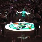 This Boston Celtics mascot does a little jig to get the crowd pumped.