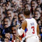Chris Paul is taken aback when he realizes someone played a prank and brought a fun mirror into the Staples Center.