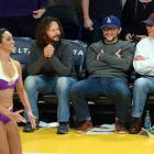 Joseph Gordon-Levitt and his father, Dennis, eagerly take in the views at a Lakers game.