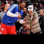 The Clipper and everyone's favorite recording artist shared some mirth at Staples Center where the visiting Boston Celtics were taking their lumps in 106-77 defeat on December 27.
