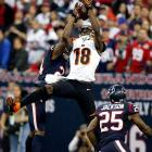 Cincinnati wide receiver A.J. Green can't make the catch as Houston cornerback Johnathan Joseph defends. Green finished the game with 80 yards receiving, but Houston won the wildcard matchup 19-13, ending Cincinnati's season.