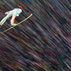 Andreas Wank of Germany soars in the first round for the FIS Ski Jumping World Cup event of the 61st Four Hills Tournament in Innsbruck, Austria, on Jan. 4.