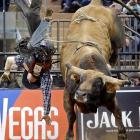 Jory Markiss of Longmont, Colo., gets flung off Tapout during the seventh annual Professional Bull Riders rodeo at Madison Square Garden on Jan. 6.