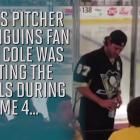 Gerrit Cole told to stop banging on glass at Penguins game