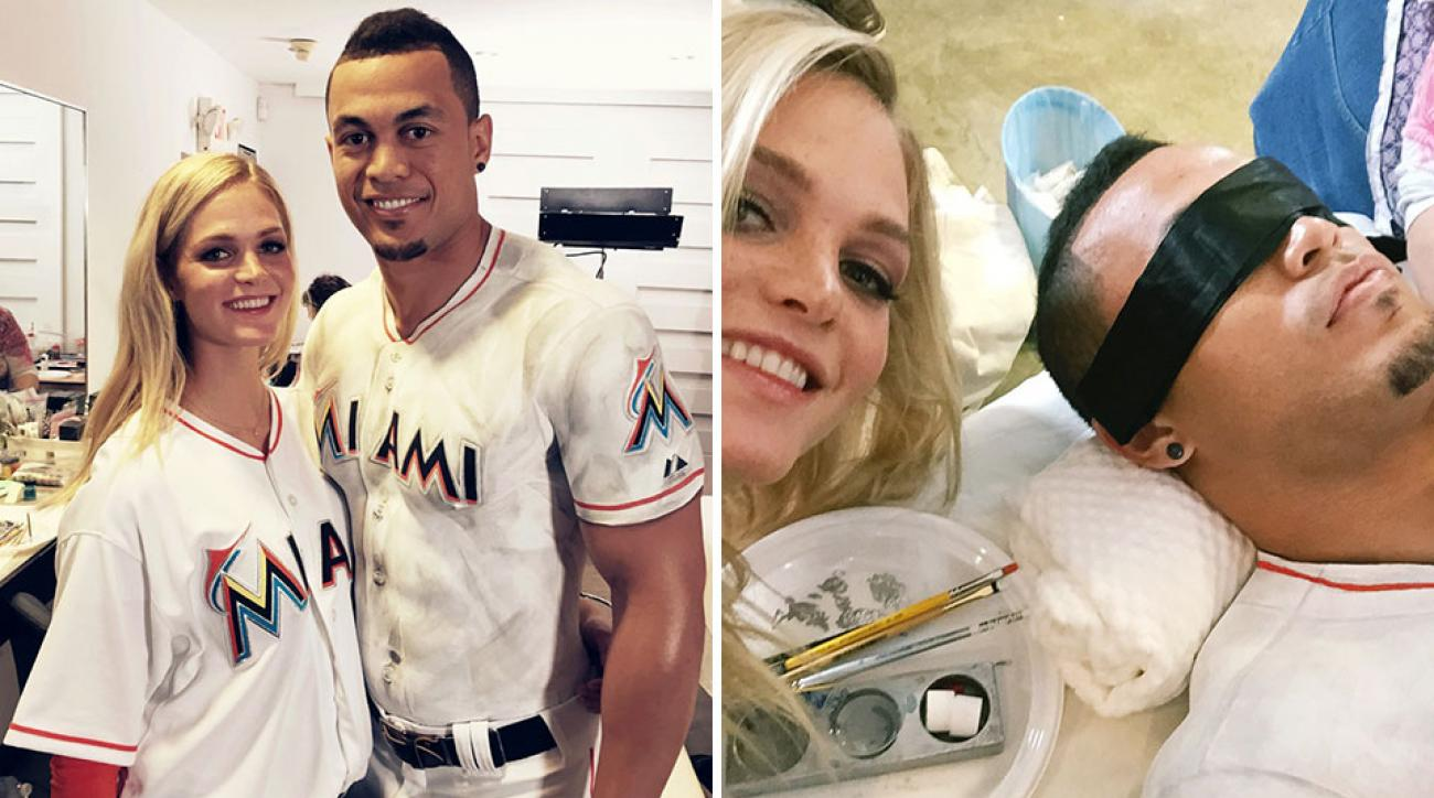 Erin Heatherton and MLB player Giancarlo Stanton on set
