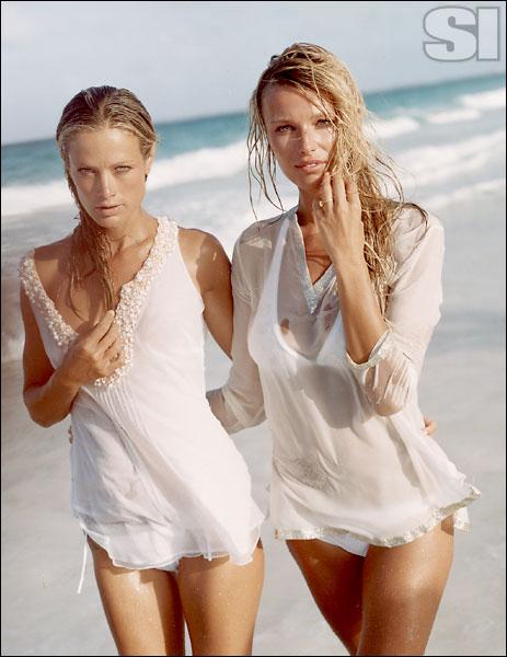 Cynthia Rose NY (top), Calvin Klein Swimwear (suit) [Carolyn]; Elizabeth Hurley Beach (top), Rebequinha (suit) [Veronica]