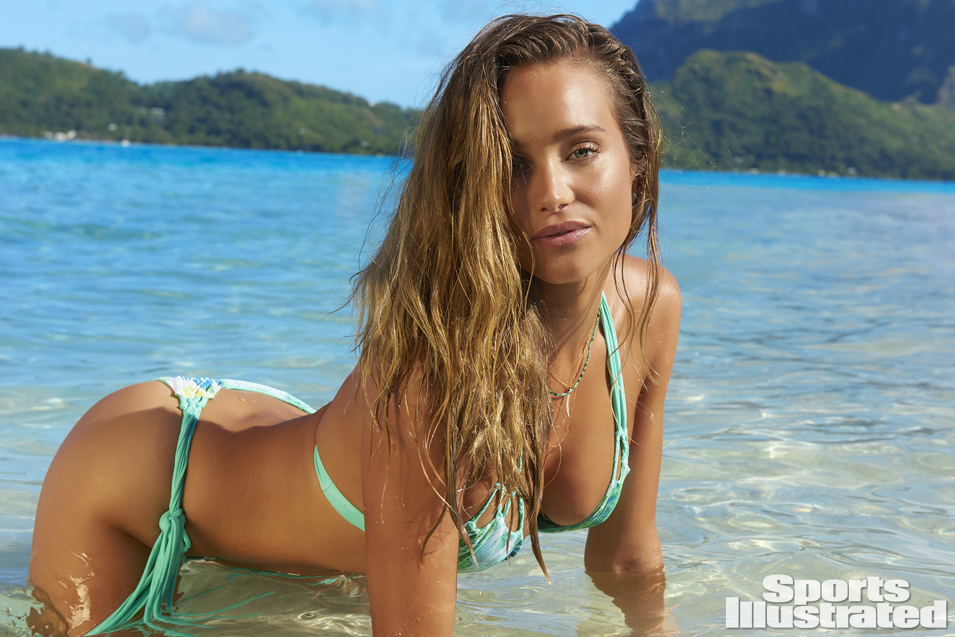 Hannah Davis was photographed by Yu Tsai in The Islands Of Tahiti. Swimsuit by Meg Liz Swimwear.