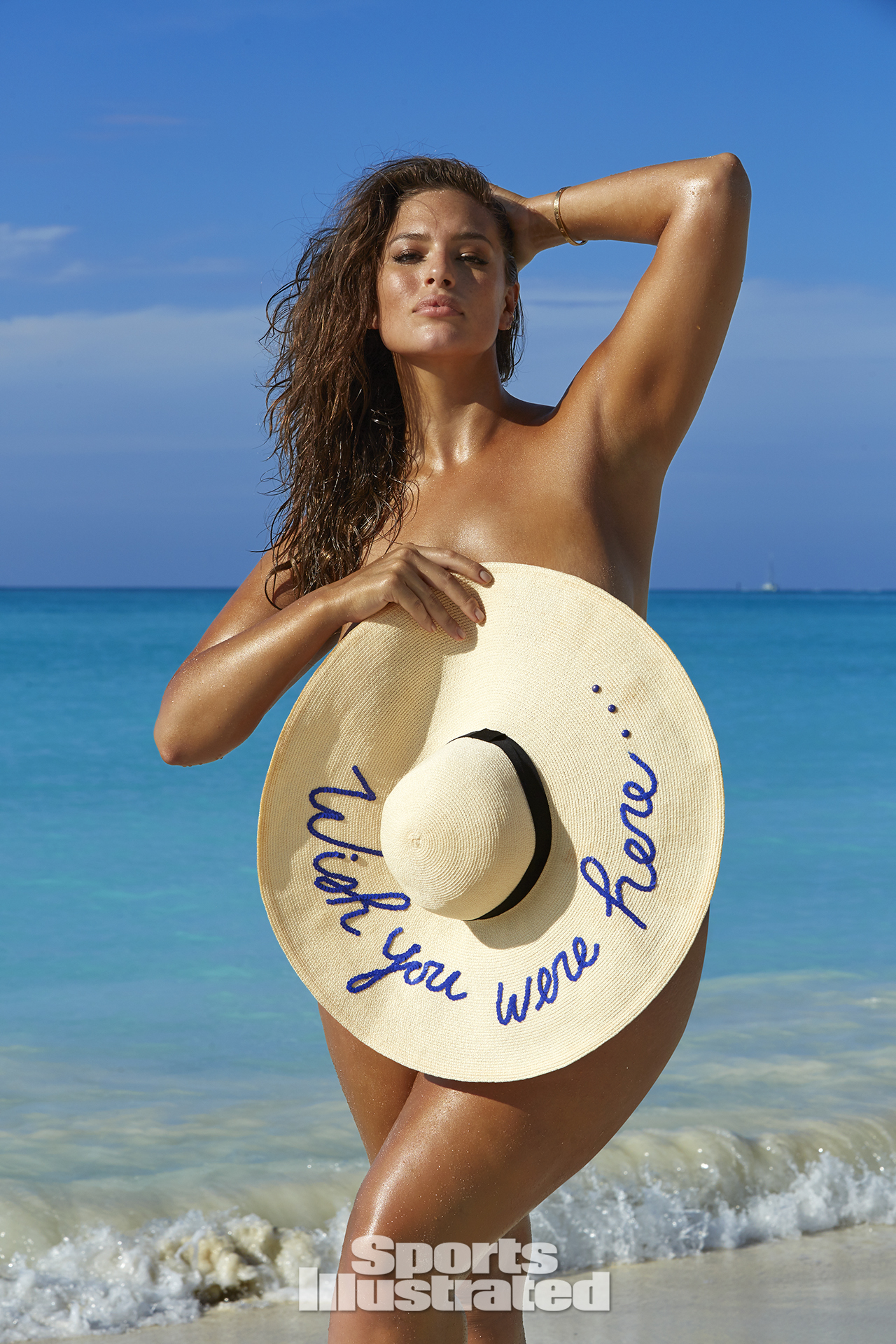 Ashley Graham was photographed by James Macari in Turks & Caicos. Swimsuit by Eugenia Kim.
