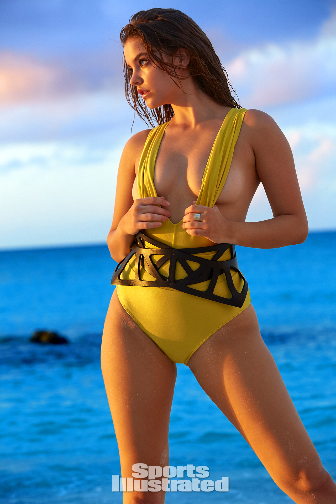 Barbara Palvin was photographed by James Macari in Turks & Caicos. Swimsuit by Jo De Mer.