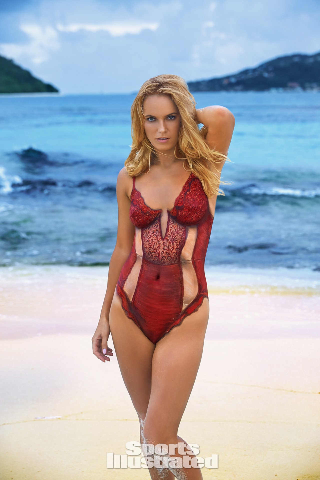 Caroline Wozniacki was photographed by Frederic Pinet in Petit St. Vincent. Swimsuit inspired by For Love And Lemons.