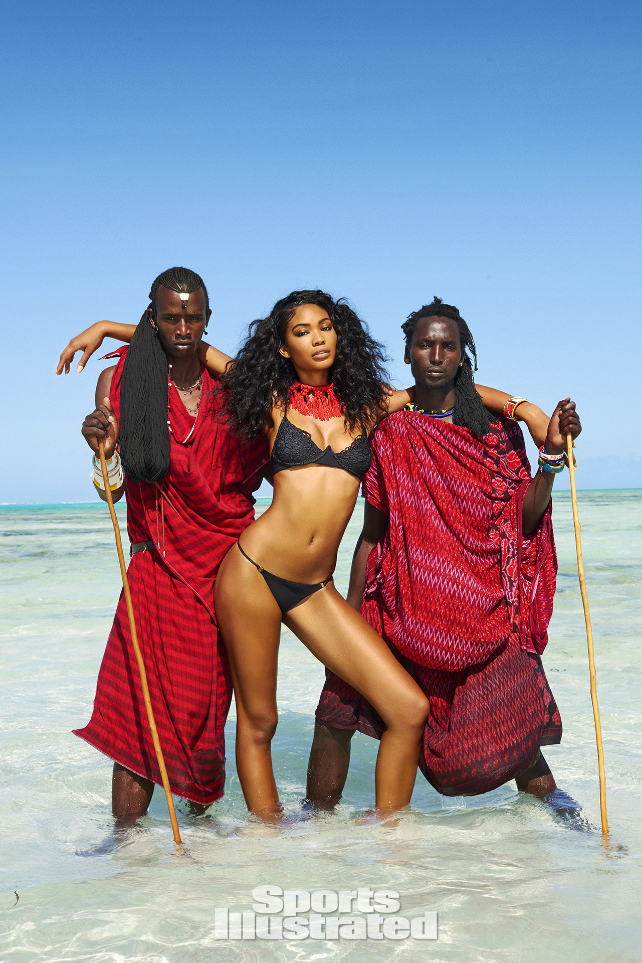 Chanel Iman was photographed by Ruven Afanador in Zanzibar. Swimsuit by Blue Life Swim.