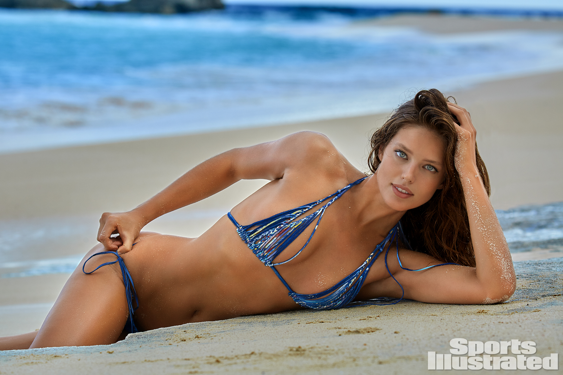 Emily DiDonato was photographed by James Macari in Turks & Caicos. Swimsuit by Lost Art By Jordan Betten.
