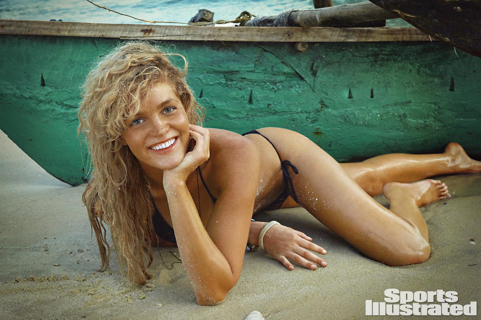 Erin Heatherton was photographed by Ruven Afanador in Zanzibar. Swimsuit by Kate Swim.