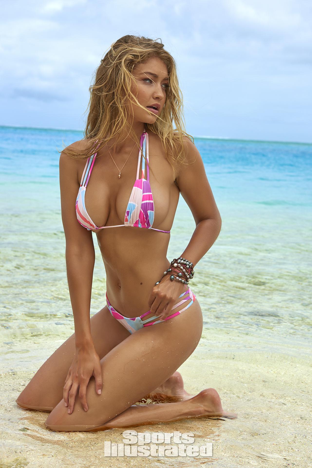 Gigi Hadid was photographed by Yu Tsai in The Islands Of Tahiti. Swimsuit by Ola Vida.