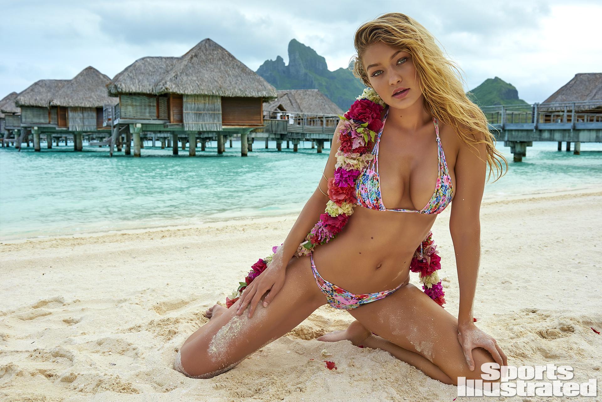 Gigi Hadid was photographed by Yu Tsai in The Islands Of Tahiti. Swimsuit by Kai Lani Swimwear.
