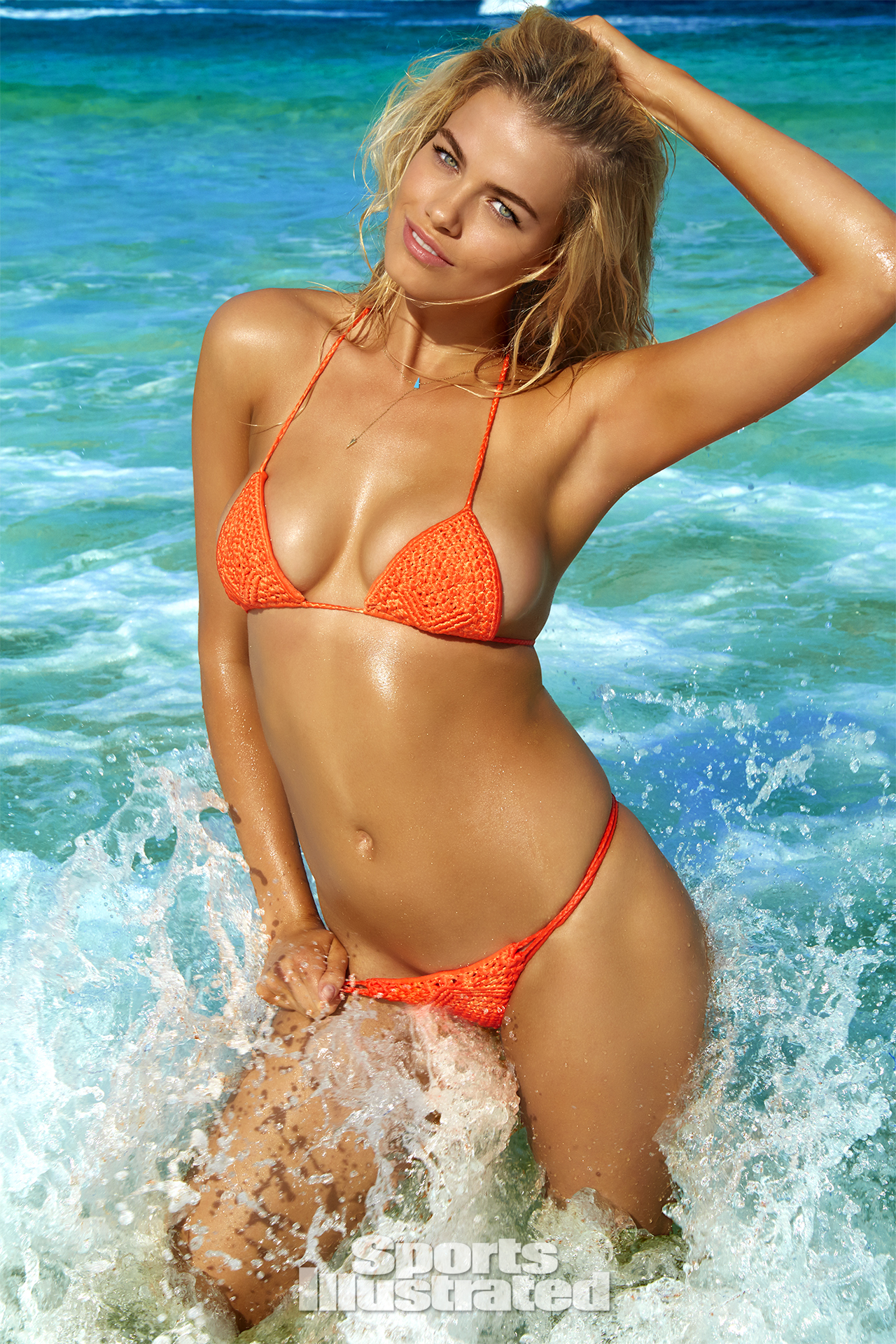 Hailey Clauson was photographed by James Macari in Turks & Caicos. Swimsuit by Midnight Swimwear.