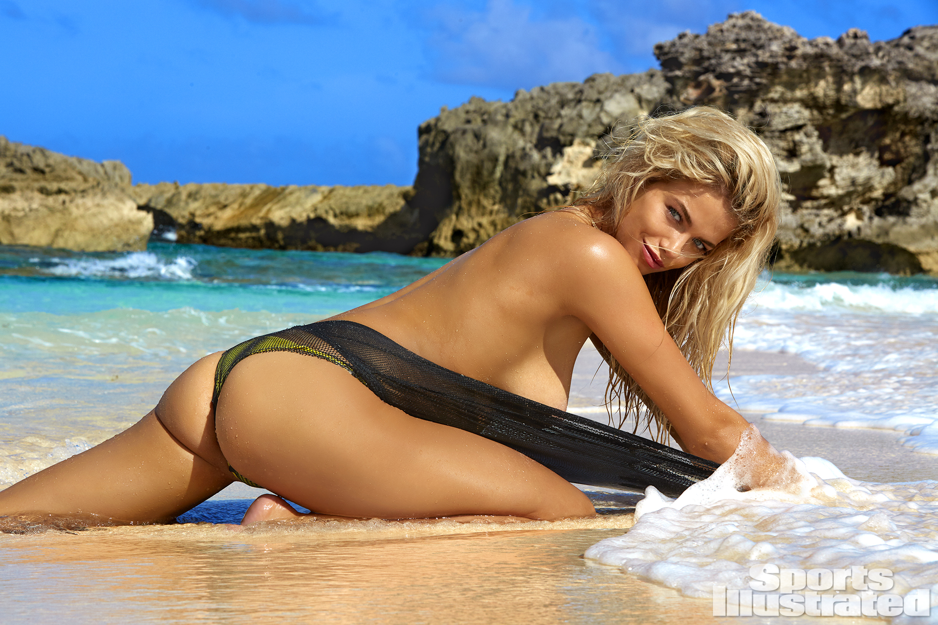 Hailey Clauson was photographed by James Macari in Turks & Caicos. Swimsuit by DIESEL And NOE Garments.