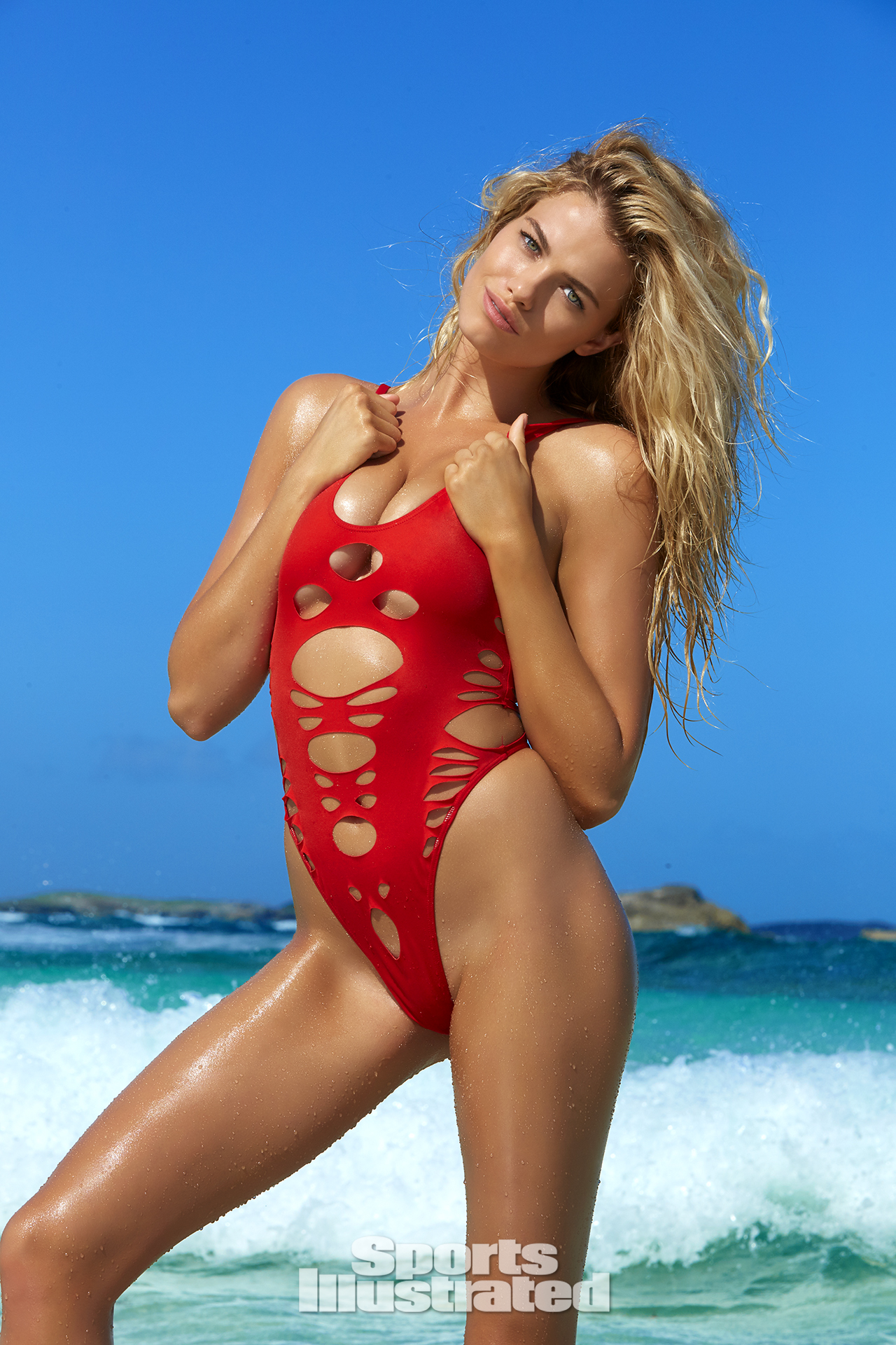 Hailey Clauson was photographed by James Macari in Turks & Caicos. Swimsuit by Haus Of PinkLemonaid.